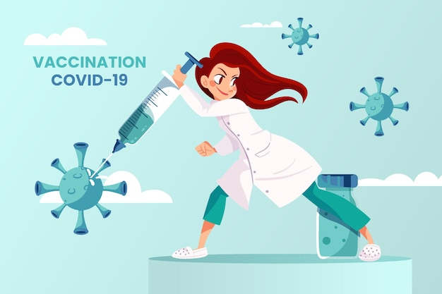 Cartoon coronavirusvaccin in de handen van de arts achtergrond
