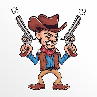Cartoon cowboy met een pistool vectorillustratie
