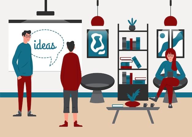Cartoon coworking space illustratie