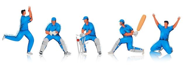 Cartoon cricket players team in verschillende poses met geluidseffect op witte achtergrond