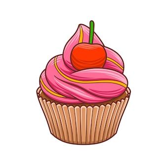 Cartoon cupcakes voor café of restaurant illustratie