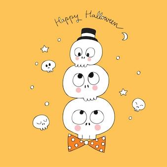 Cartoon cute halloween schedels vector.