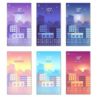 Cartoon dagtelefoon behang met stadsgebouwen, zon, maan en sterrenhemel.