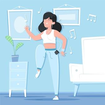 Cartoon dans fitness thuis