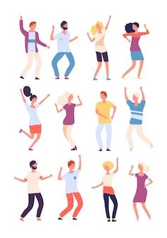 Cartoon dansende mensen set