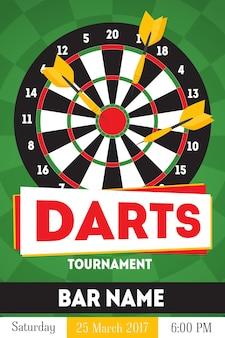 Cartoon darts toernooi poster, kaart voor bar met datum platte ontwerpstijl