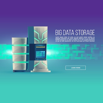 Cartoon database centrum. controlekamer met serverrack - grote gegevensopslag.
