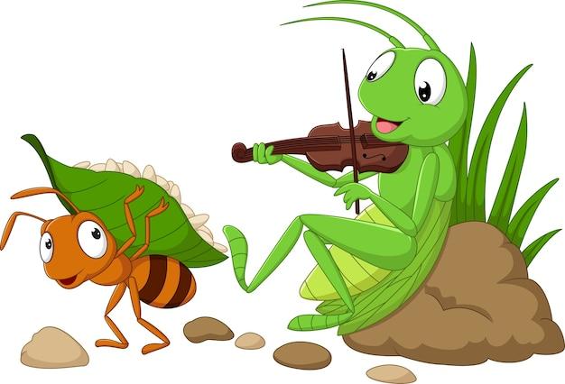 Cartoon de mier en de sprinkhaan