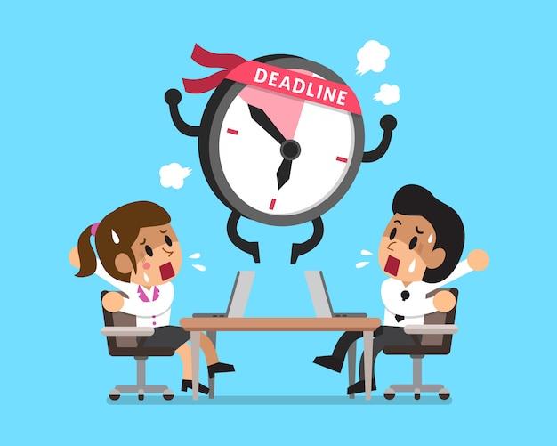 Cartoon deadline klok karakter en mensen uit het bedrijfsleven