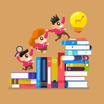 Cartoon design concept kinderen leren en onderwijs met boeken