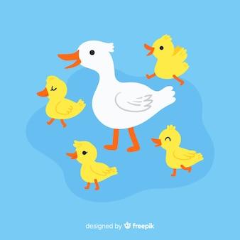 Cartoon design met eend en kuikens