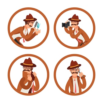 Cartoon detective avatars vector set