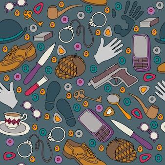 Cartoon detective en crimineel naadloos patroon.
