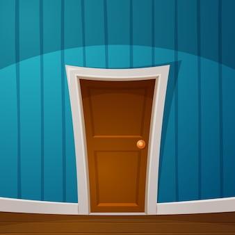 Cartoon deur in de kamer.