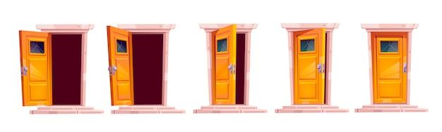 Cartoon deur sluiten bewegingssequentie animatie. open op een kier en sluit houten deuropeningen met stenen trappen en duisternis binnen