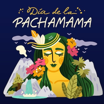 Cartoon dia de la pachamama illustratie