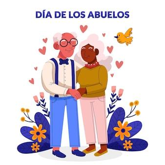 Cartoon dia de los abuelos illustratie