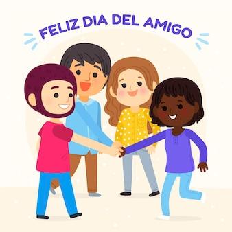 Cartoon dia del amigo - 20 juli illustratie