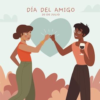 Cartoon dia del amigo illustratie