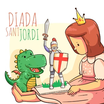 Cartoon diada de sant jordi illustratie met ridder, draak en prinses