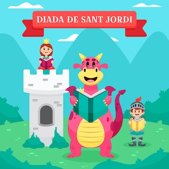 Cartoon diada de sant jordi illustratie met ridder en prinses en draak met boek