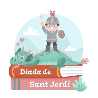 Cartoon diada de sant jordi illustratie met ridder en zwaard
