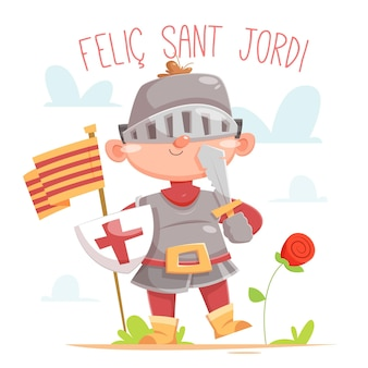 Cartoon diada de sant jordi illustratie met ridder