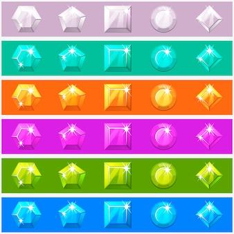 Cartoon diamanten in bewerkbare verschillende kleuren