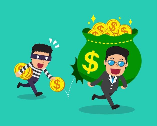 Cartoon dief geld stelen van zakenman.