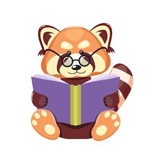 Cartoon dier houdt een boek in zijn poten, leest.