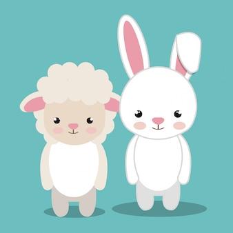 Cartoon dier schapen konijn pluche gevuld ontwerp