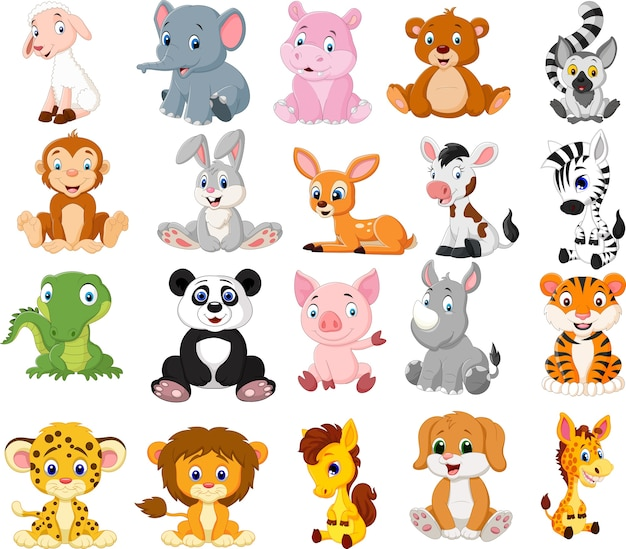 Cartoon dieren collectie set