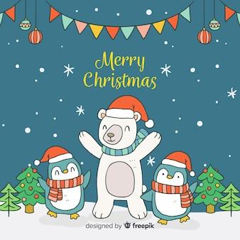 Cartoon dieren kerstmis achtergrond
