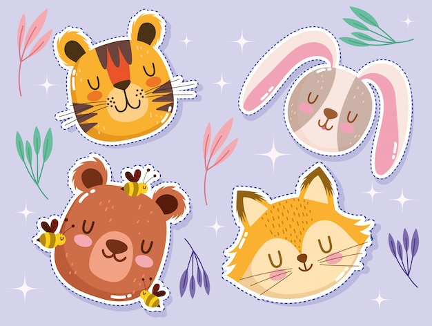 Cartoon dieren stickers set