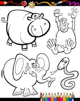Cartoon dieren voor kleuren boek