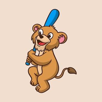 Cartoon dierenkinderen leeuw spelen honkbal schattig mascotte logo