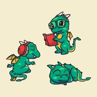 Cartoon dierenontwerp draken luisteren naar muziek, lezen boeken en slapen schattige mascotte illustratie