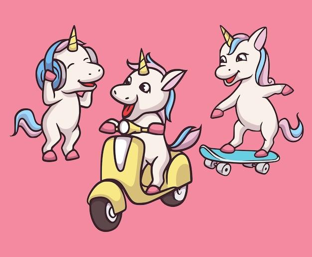 Cartoon dierenontwerp eenhoorns luisteren naar muziek, rijden motorfietsen en skateboards schattige mascotte illustratie