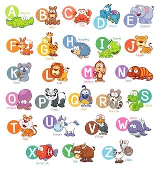 Cartoon dierlijk engels alfabet