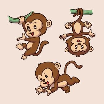 Cartoon dierlijk ontwerp aap hing aan de boomstam en springen schattige mascotte illustratie