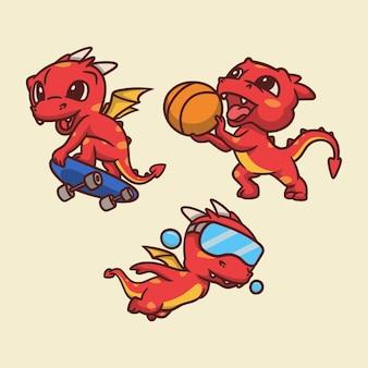 Cartoon dierlijk ontwerp draken skateboarden, basketbal en zwemmen schattige mascotte illustratie