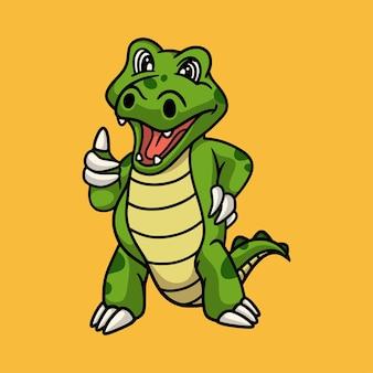 Cartoon dierlijk ontwerp krokodil poseren duimen omhoog schattige mascotte