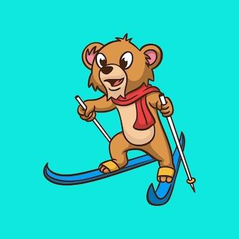 Cartoon dierlijk ontwerp leeuw skiën schattige mascotte