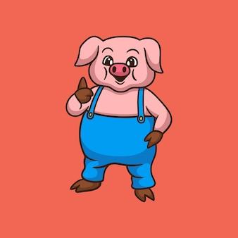Cartoon dierlijk ontwerp varken pose duimen schattig