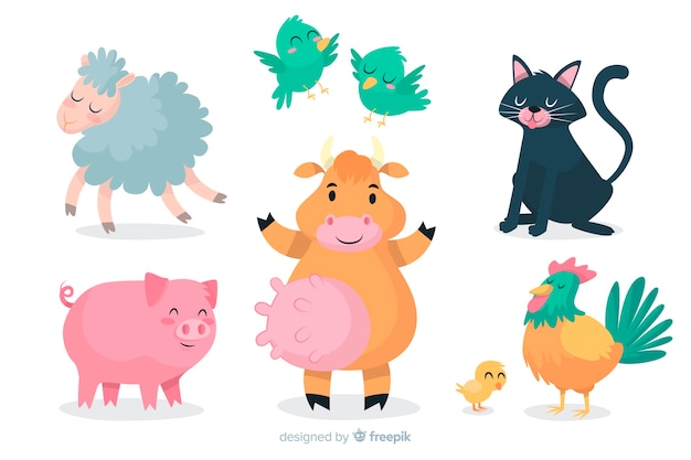 Cartoon dierlijke collectie artistiek ontwerp