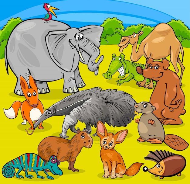 Cartoon dierlijke karakters groep