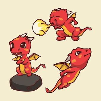 Cartoon dierlijke ontwerp draak stond op een rots, vuur spuwend en vliegende schattige mascotte illustratie