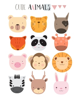 Cartoon dierlijke pictogrammen instellen
