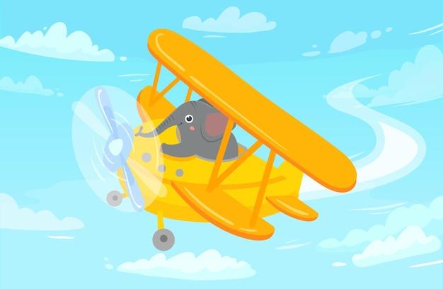 Cartoon dierlijke piloot. olifant in vliegtuig