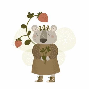 Cartoon dierlijke teddybeer met aardbei